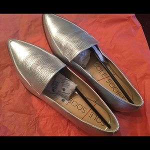 Silver Sole Society Loafers.
